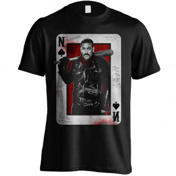 CAMISETA TALLA L. NEGAN PLAYING CARD. THE WALKING DEAD