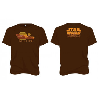 CAMISETA TALLA L. TATOOINE MARRON. STAR WARS