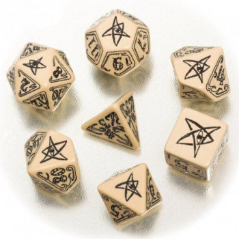 SET 7 DADOS BEIGE/NEGRO. CALL OF CTHULHU
