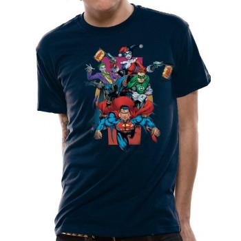CAMISETA TALLA L. HEROES Y VILLANOS. DC COMICS