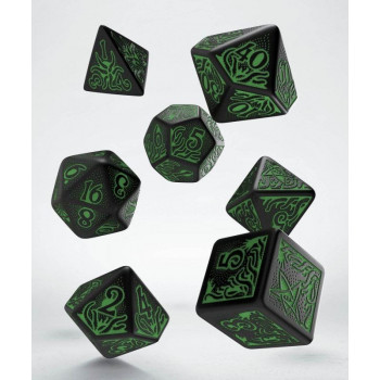 SET 7 DADOS CALL OF CTHULHU 7th EDITION NEGRO/VERDE
