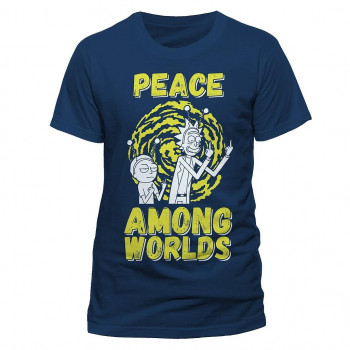 CAMISETA TALLA L. PEACE AMONG WORLDS. RICK Y MORTY