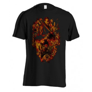 CAMISETA TALLA L. CRANEO NARANJA. THE WALKING DEAD