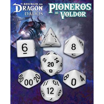SET DE 7 DADOS BLANCO KAOSI  - PIONEROS DE VOLDOR (EL RESURGIR DEL DRAGON)