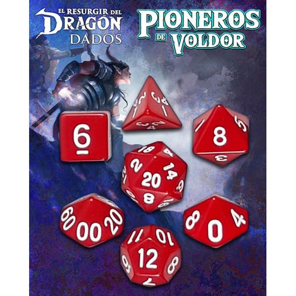 SET DE 7 DADOS ROJO LANTAMAR  - PIONEROS DE VOLDOR (EL RESURGIR DEL DRAGON)