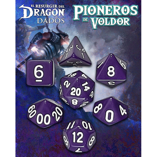 SET DE 7 DADOS MORADO ROCASANGRIENTA - PIONEROS DE VOLDOR (EL RESURGIR DEL DRAGON)