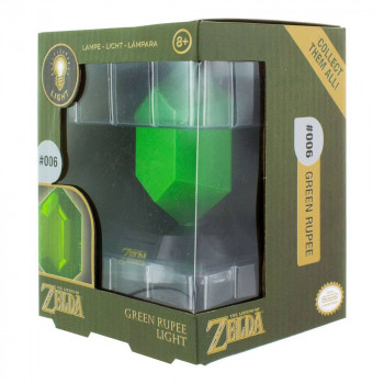 LAMPARA 3D GREEN RUPEE (RUPIA) 10cm. THE LEGEND OF ZELDA