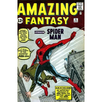 PORTADA METALICA PIROGRABADA SPIDERMAN AMAZING FANTASY 15 MARVEL STEEL COVER SERIES 2 GIANT SIZE 65x42cm. MARVEL