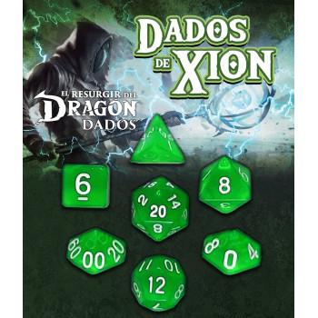 SET DE 7 DADOS VERDE ZEFIRIA - DADOS DE XION (EL RESURGIR DEL DRAGON)