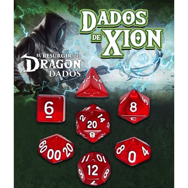 SET DE 7 DADOS ROJO HIRIOR - DADOS DE XION (EL RESURGIR DEL DRAGON)