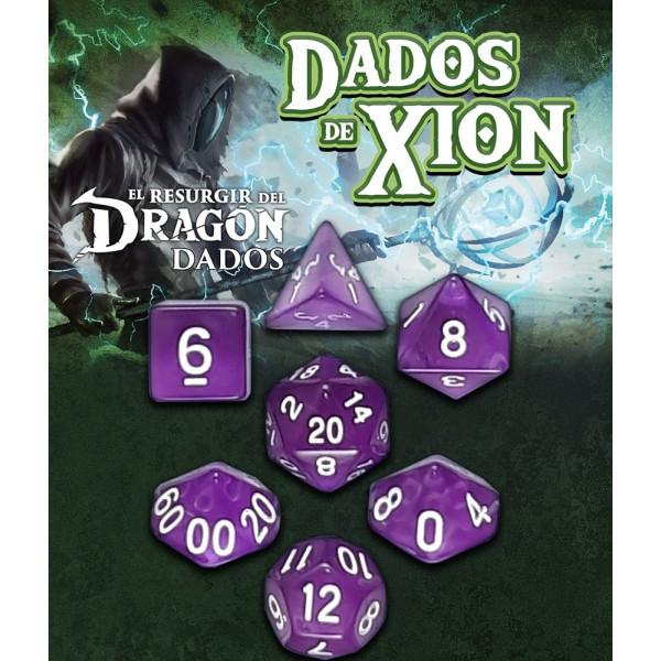 SET DE 7 DADOS PURPURA EXTRAÑA OSCURIDAD - DADOS DE XION (EL RESURGIR DEL DRAGON)