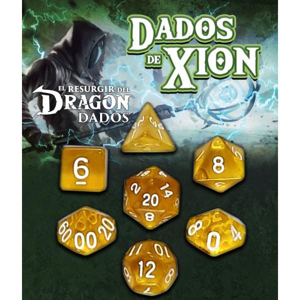SET DE 7 DADOS AMARILLO VINDUSAN - DADOS DE XION (EL RESURGIR DEL DRAGON)