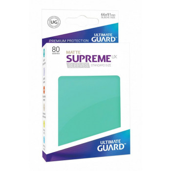 FUNDAS COLOR TURQUESA MATE 66x91 mm (80 uds.) ULTIMATE GUARD SUPREME UX