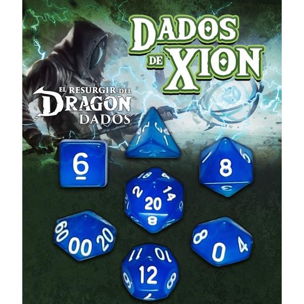 SET DE 7 DADOS AZUL MARMERON - DADOS DE XION (EL RESURGIR DEL DRAGON)