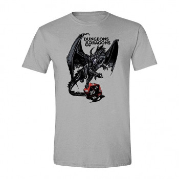 CAMISETA TALLA L. DRAGON Y DADO. DUNGEONS & DRAGONS
