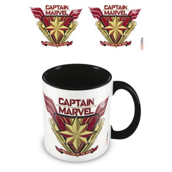 TAZA EMBLEMA INTERIOR COLOREADA. CAPITANA MARVEL
