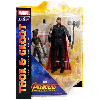 FIGURAS THOR & GROOT MARVEL SELECT 18 cm. VENGADORES INFINITY WAR