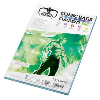 FUNDAS PARA COMICS CON CIERRE REUTILIABLE TAMAÑO CURRENT BIG 178 x 268mm (100 UNIDADES). ULTIMATE GUARD